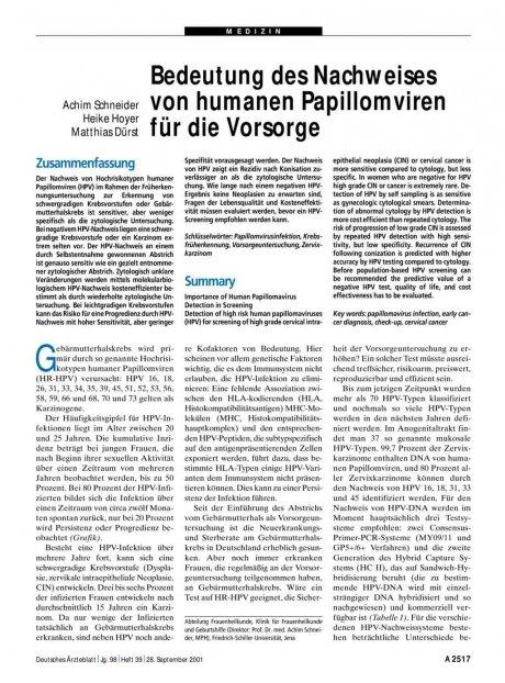 Bedeutung des Nachweises von humanen Papillomviren...