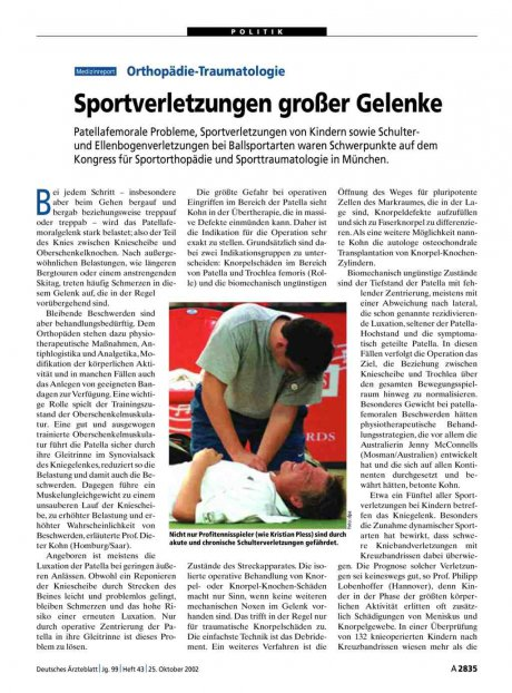 Orthopädie-Traumatologie: Sportverletzungen großer Gelenke