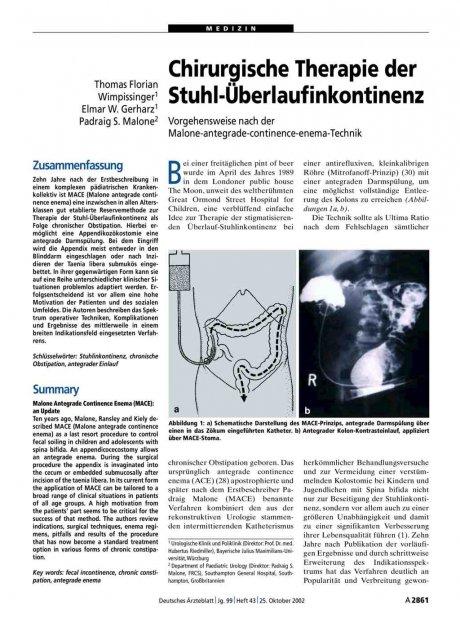Chirurgische Therapie der Stuhl-Überlaufinkontinenz: Vorgehensweise nach der Malone-antegrade-continence-enema-Technik