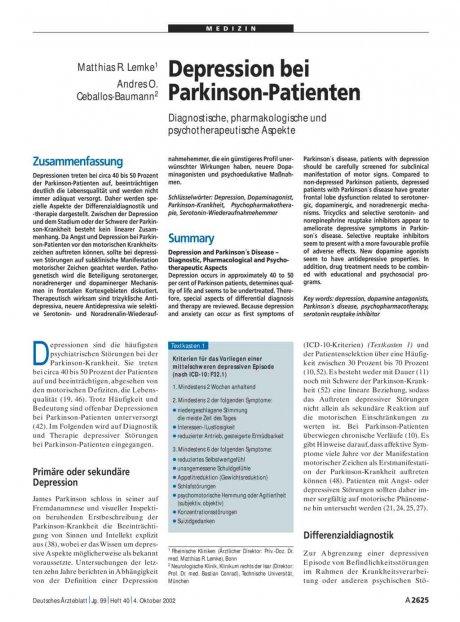 Depression bei Parkinson-Patienten: Diagnostische, pharmakologische und psychotherapeutische Aspekte