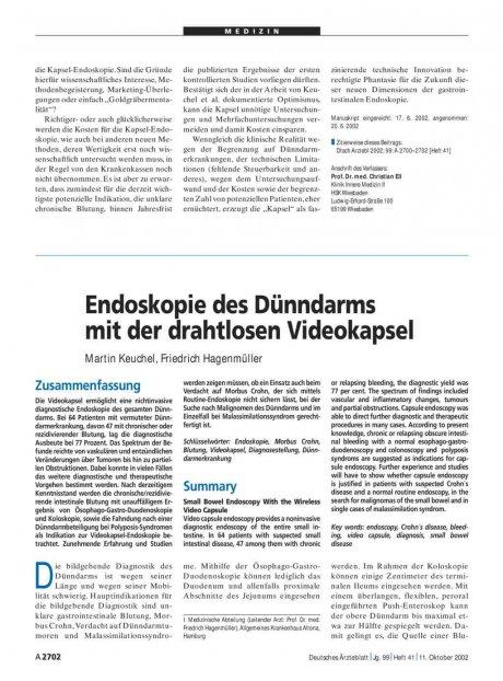 Endoskopie des Dünndarms mit der drahtlosen...