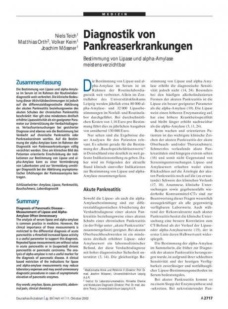 Diagnostik von Pankreaserkrankungen