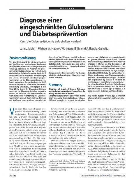 Diagnose einer eingeschränkten Glukosetoleranz und...