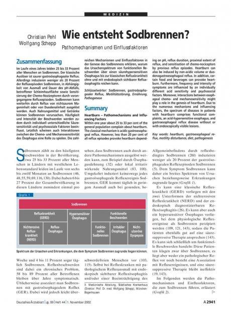 Wie entsteht Sodbrennen? Pathomechanismen und...