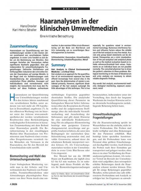 Haaranalysen in der klinischen Umweltmedizin