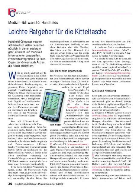 Medizin-Software für Handhelds