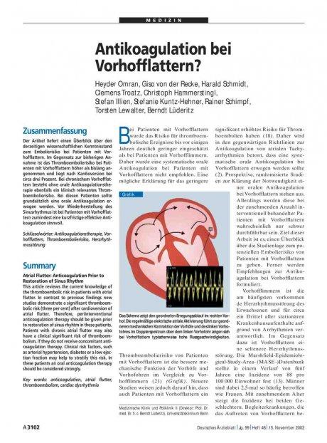 Antikoagulation bei Vorhofflattern?