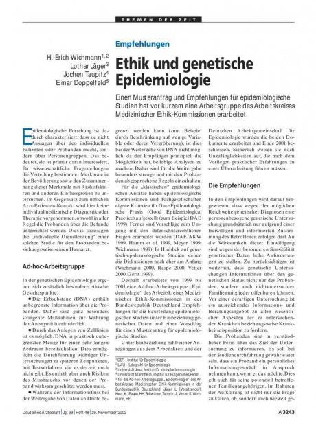 Empfehlungen: Ethik und genetische Epidemiologie