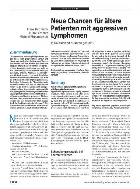 Neue Chancen für ältere Patienten mit aggressiven...