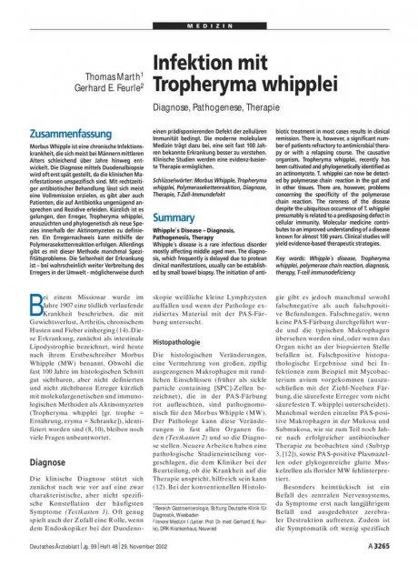 Infektion mit Tropheryma whipplei