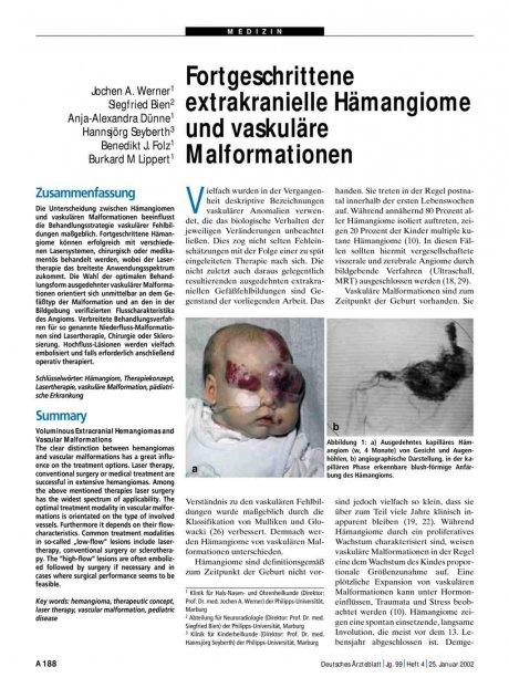 Fortgeschrittene extrakranielle Hämangiome und vaskuläre Malformationen