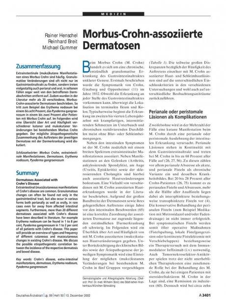 Morbus-Crohn-assoziierte Dermatosen