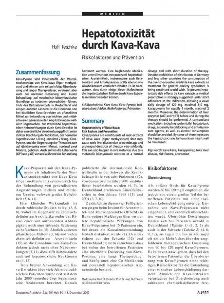 Hepatotoxizität durch Kava-Kava