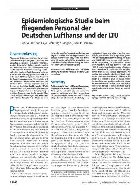 Epidemiologische Studie beim fliegenden Personal...