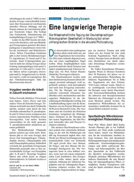 Onychomykosen: Eine langwierige Therapie