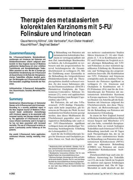 Therapie des metastasierten kolorektalen Karzinoms mit 5-FU/ Folinsäure und Irinotecan