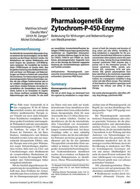 Pharmakogenetik der Zytochrom-P-450-Enzyme