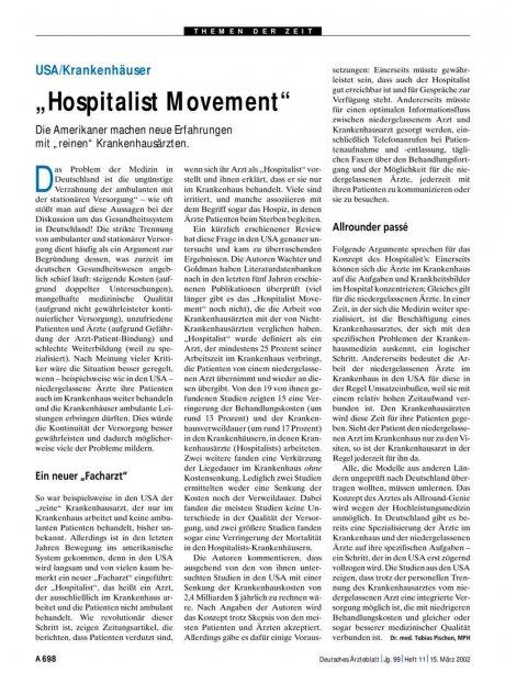 "USA/Krankenhäuser: ""Hospitalist Movement"""