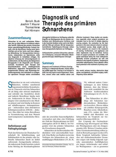 Diagnostik und Therapie des primären Schnarchens
