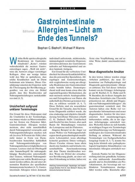 Gastrointestinale Allergien – Licht am Ende des Tunnels?