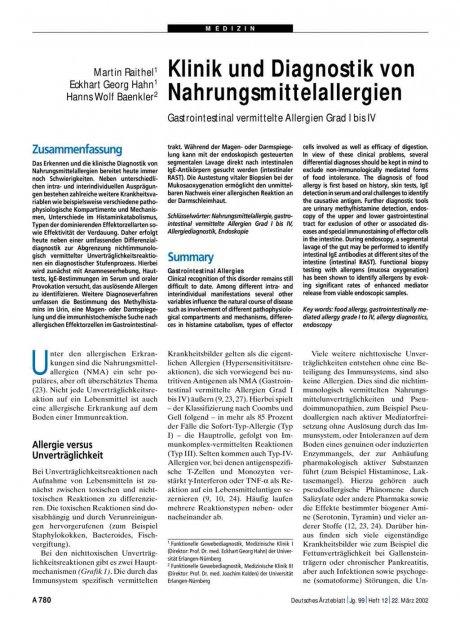 Klinik und Diagnostik von Nahrungsmittelallergien: Gastrointestinal vermittelte Allergien Grad I bis IV