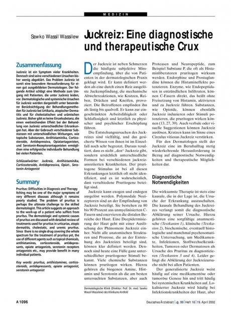 Juckreiz: Eine diagnostische und therapeutische Crux