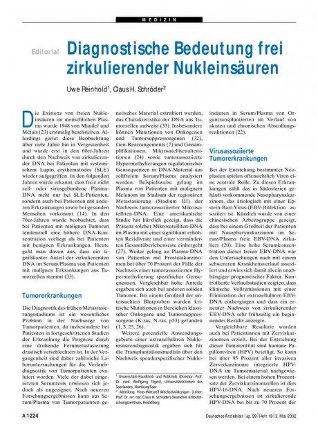 Diagnostische Bedeutung frei zirkulierender...