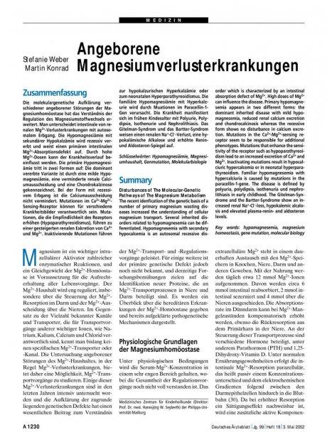 Angeborene Magnesiumverlusterkrankungen