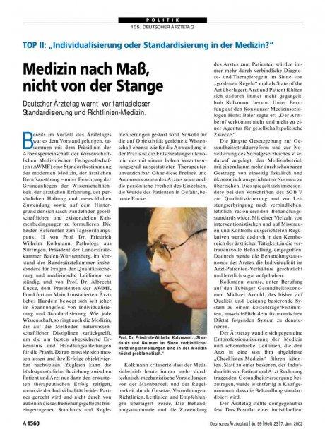 """TOP II - """"Individualisierung oder Standardisierung in der Medizin?"""": Medizin nach Maß, nicht von der Stange"""
