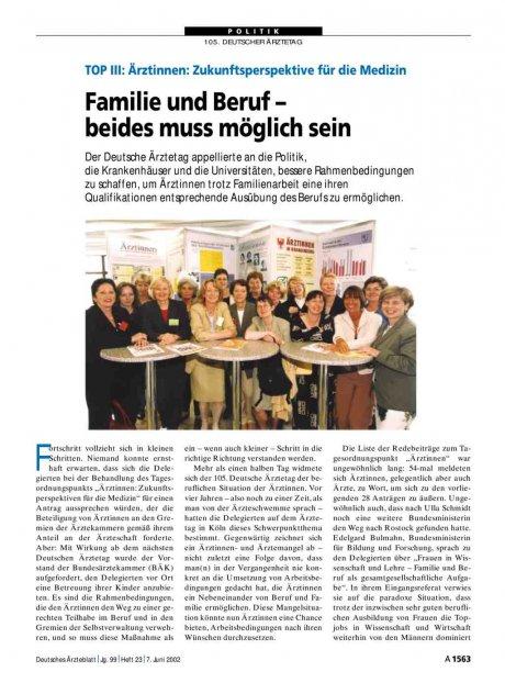 TOP III - Ärztinnen - Zukunftsperspektive für die Medizin: Familie und Beruf – beides muss möglich sein