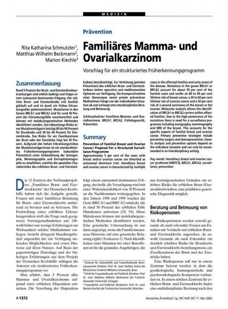 Prävention: Familiäres Mamma- und Ovarialkarzinom