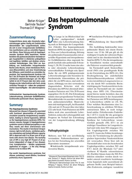 Das hepatopulmonale Syndrom