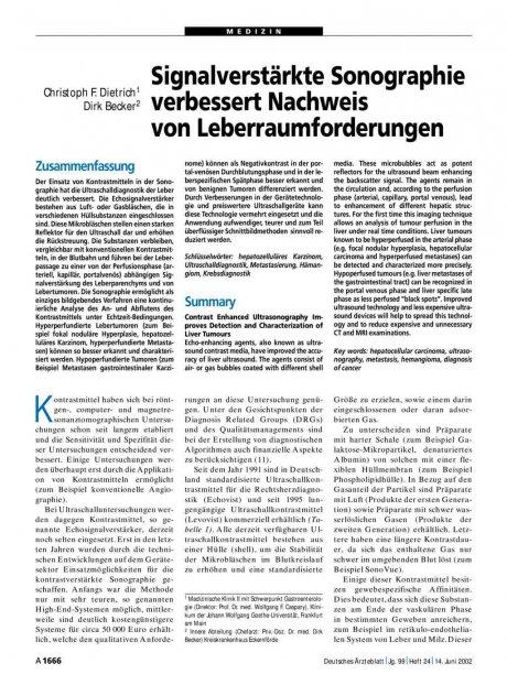 Signalverstärkte Sonographie verbessert Nachweis...