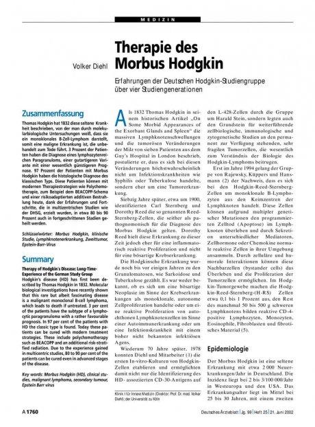 Therapie des Morbus Hodgkin