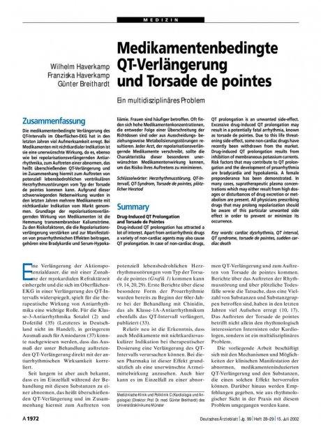 Medikamentenbedingte QT-Verlängerung und Torsade...