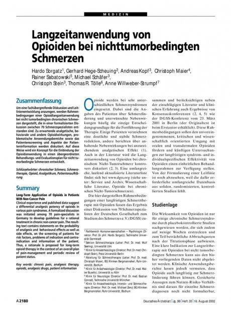 Langzeitanwendung von Opioiden bei...