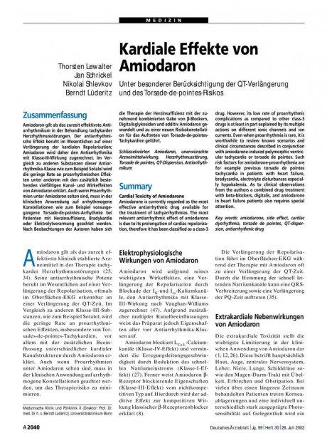 Kardiale Effekte von Amiodaron: Unter besonderer Berücksichtigung der QT-Verlängerung und des Torsade-de-pointes-Risikos