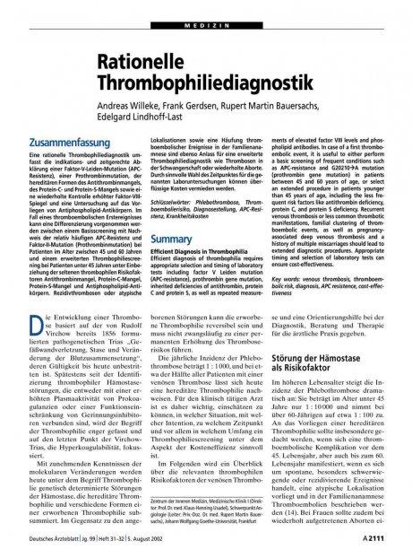 Rationelle Thrombophiliediagnostik