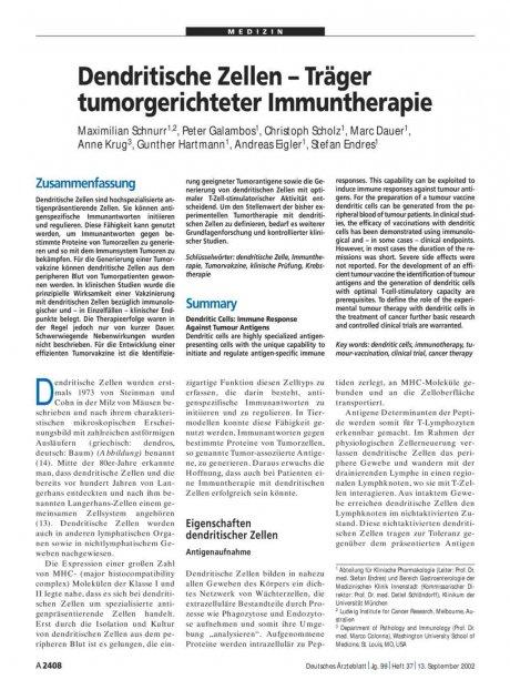 Dendritische Zellen – Träger tumorgerichteter...
