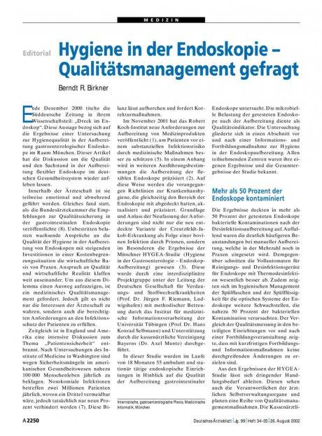 Hygiene in der Endoskopie –: Qualitätsmanagement gefragt