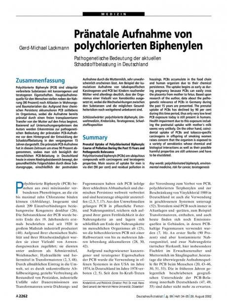 Pränatale Aufnahme von polychlorierten Biphenylen