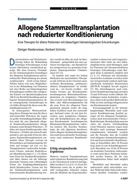 Allogene Stammzelltransplantation nach reduzierter...