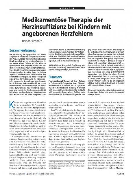Medikamentöse Therapie der Herzinsuffizienz bei...