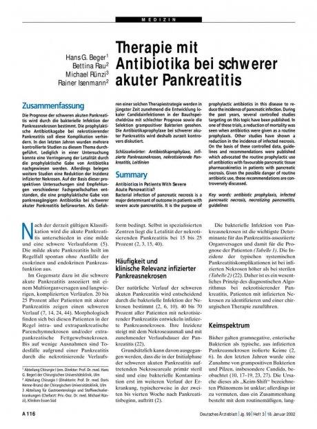 Therapie mit Antibiotika bei schwerer akuter...