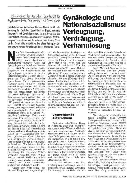 Gynäkologie und Nationalsozialismus