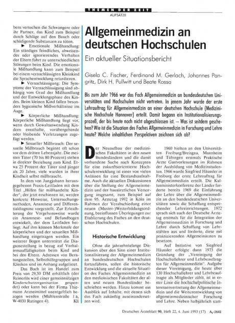 Allgemeinmedizin an deutschen Hochschulen