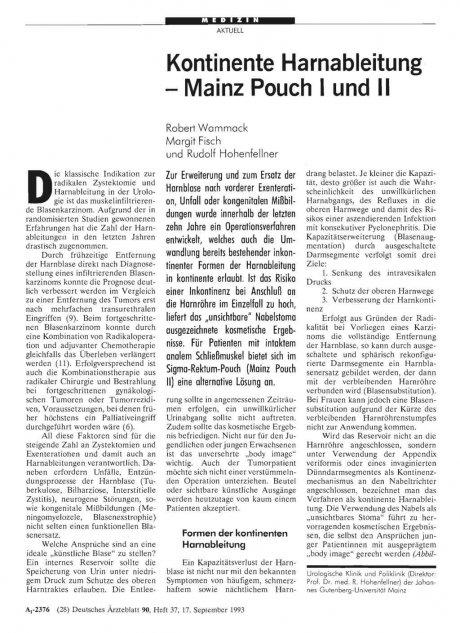 Kontinente Harnableitung - Mainz Pouch 1 und II