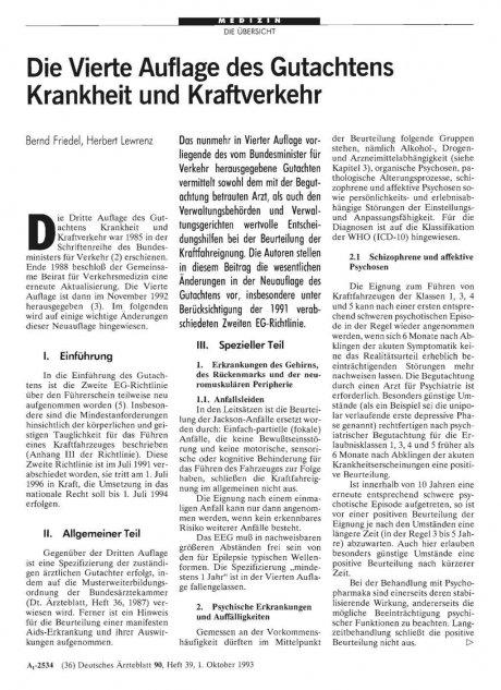 Die Vierte Auflage des Gutachtens Krankheit und...