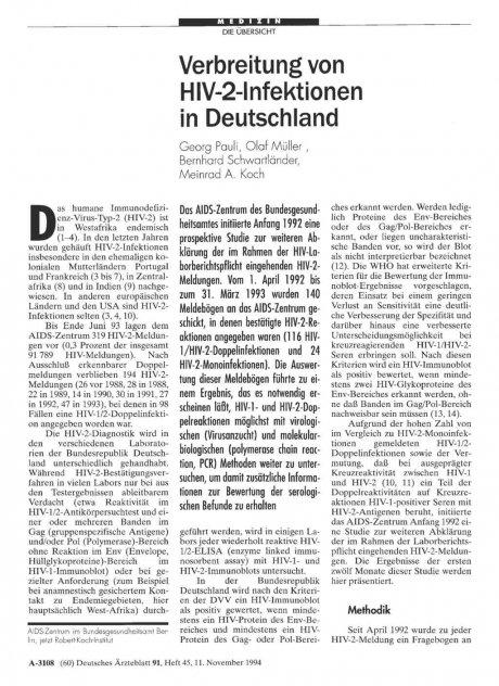 Verbreitung von HIV-2-Infektionen in Deutschland