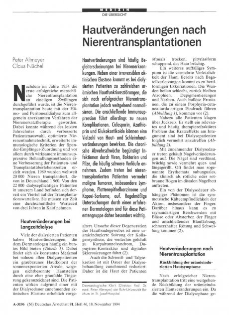 Hautveränderungen nach Nierentransplantationen